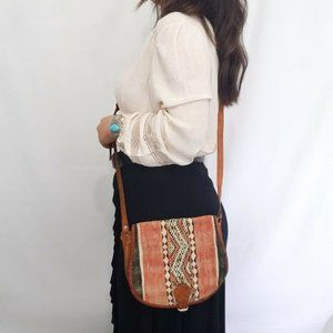 Vintage Bohemian Western Blanket Leather Crossbody